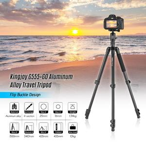 Kingjoy G555+G0 Aluminum Alloy 4-Section Travel Tripod Detachable Monopod with Panoramic Ball Head Flip Buckle Design for Canon Sony Nikon DSLR Cameras Max. Height 155.5cm Max. Load 10kg