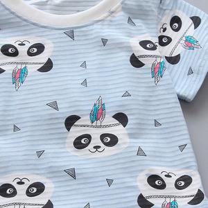 MissFortune Baby Kids Boys&Girls Rabbit Panda Printed Tops T-Shirt+Stripe Shorts Set Outfits