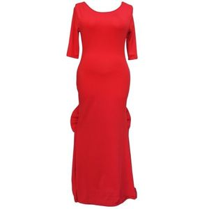 Red Polyester Backless Big Bow Accent Dress for Women