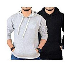 BuyFirstPack Of 2 - Black & Grey Fleece Hoodies For Men