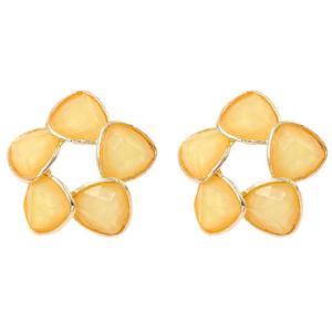 Vodool Simple Design Flower Earrings Gold Color Ear Stud Fashion Women Jewelry