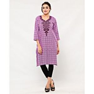 Naureen ShahPurple Self Printed Embroidered Cotton Kurta For Women