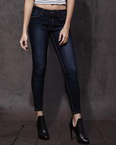 Dark Blue Cotton Slim Fit Jeans For Women