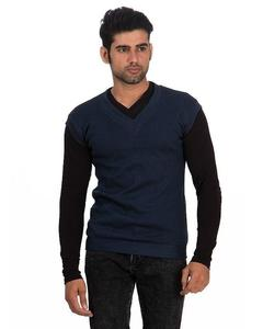 Navy Blue Cotton & Wool Sweater for Men