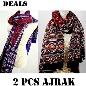 DEALS PACK OF 2 - Multicolor Color Sindhi Ajrak For Unisex