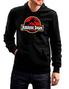 Black Stylish Printed Jurassic Park Hoodie