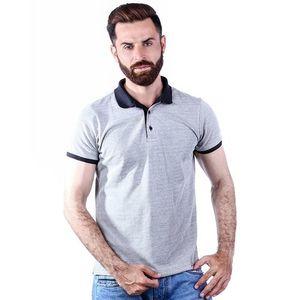 Grey Cotton Collar T-Shirt For Men