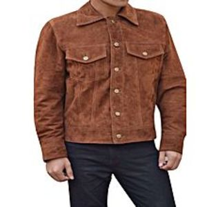 TASHCO Clothing Brown Faux Leather Jacket For Men