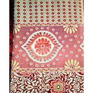 Al Aziz traders Multani Gul Tex Double Bed Fancy Silk King Size Bed Sheet Red Color