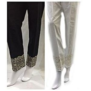 FashionhawkzAlkaram Embroidered Trousers Double Pack