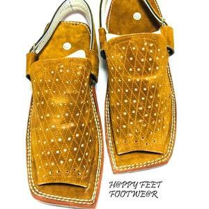 50% New Suede Leather Light Brown Mens Balaaj Style Peshawari Velvet Sandal (Same Product Will deliver)