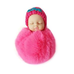 Cute Sleeping Baby Doll Keychain Soft Fur Pendant Car Bag Charm Keyring rose red about 10cm