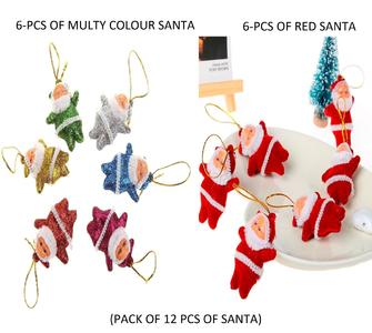 PACK OF 12 PCS ) 6 pcs Colourful and 6 pcs red Christmas mini Santa Claus Party Ornaments Xmas Tree Hanging (Colorfu and red )