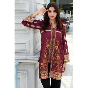 So Kamal Winter Collection  Maroon Karandi Embroidered 1PC -Unstitched Shirt DPW18 772 EF01287-STD-MRN