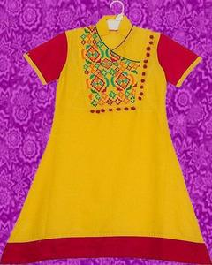 Yellow & Red Cotton Embroidered Kurta For Girls