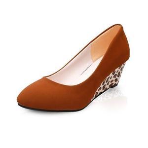 Women Wedges Pumps Korean Flock Shallow Casual Shoes Plus Size (Black)
