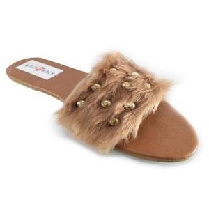 Brown Fancy Fur Slipper For Women