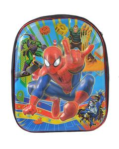 Asaan Parhai Spiderman Embossed School Bag for Boys (2 Compartments with Bottle Holder) - Black (14 Inch Height, 11 Inch Width)