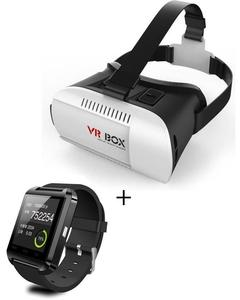 VR Box With U8 Bluetooth Smart Watch - White & Black