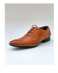 Light Brown Leather Stitched Design Formal Shoes For Men