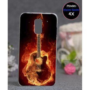 Xiaomi Redmi 4X Mobile Cover Guitar Style - Red