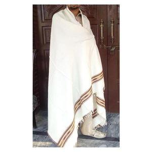 Woolen Shawl for Gents - White