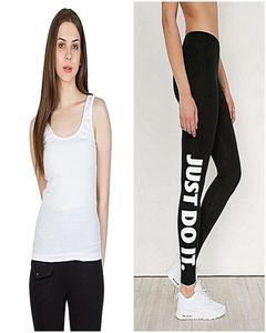 White Tank Top & Black Just Do It Printed Gym Tight For Her