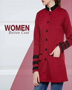 Red Long Button Coat For Women