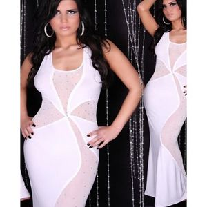 White Polyester And Spandex Maxi Dress For Women