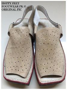 60% OFF New Stylish Velvet Leather Cream Mens Balaaj Style Peshawari Sandal (Same Product Will Deliver)