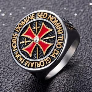 Crusader Titanium Steel Ring Diamond Red Cross Stainless Steel Domineering Templar Knight Ring 14/Silver