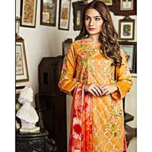 Nimsay Peach Unstitched 3 Pcs Shirt Embroidered Lawn With Trouser  And Tissue Silk Dupatta