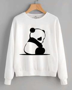 White Panda Printed Sweat Shirt For Women
