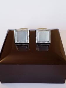 Ash Grey - Gemstone - Square Cufflinks for Men