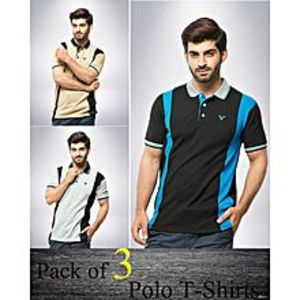 Aybeez Pack of 3 Multicolour Polyester & Cotton Polo Shirt for Men