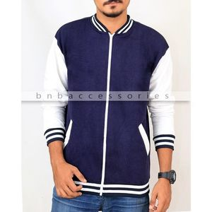 Navy Blue Cotton Fleece Zipper Baseball Jacket
