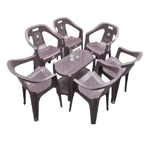 Plastic Chairs Boss Full Plastic Chairs Set of 6 Plastic Chairs and Table- Grey