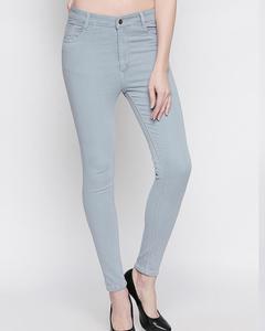 Light Blue Grey Cotton Slim Fit Jeans For Women