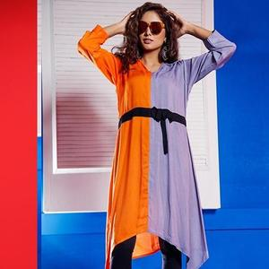 Narmeen Dual Color Shirt With Belt For Women