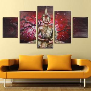 5Pcs Abstract Printed Buddha Modern Unframed Canvas Painting Wall Art Home Decor