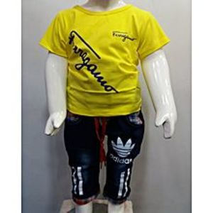 Madina Fashion Yellow T-Shirt,& Blue Denim Bermuda Suit For Boys  040
