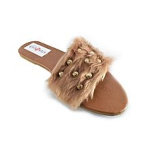 Step Buy Step Brown Fancy Fur Slipper For Women