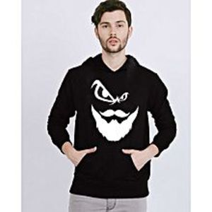 Aashi Black Fleece Angry Beard Printed Hoodie for Men - Black - XL