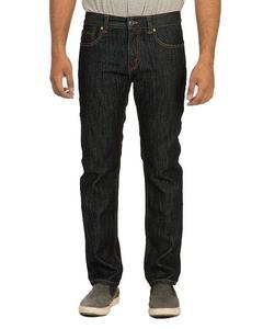 Dark Blue Cotton Denim Straight-leg Jeans with Golden Thread for Men - Slim-fit