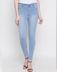 Blue Grey Cotton Slim Fit Jeans For Women