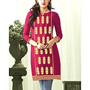 sitara kurti mehalShocking Pink Embroidery Stitch Kurta for Women - Skm10095