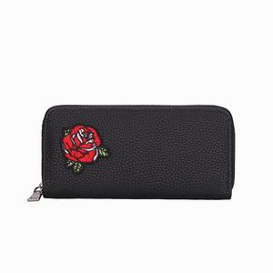 Women embroid Floral Rose Handbag Zipper Bag Card Bag  Tote Lady  Purse Wallet