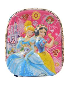 Asaan Parhai Friends Embossed School Bag for Girls (2 Compartments with Bottle Holder) - Pink (14 Inch Height, 11 Inch Width)