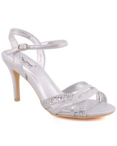 "Silver Metallic Fabric Women ""XENA"" Peep Toe Criss-Cross Strap Stiletto Sandals L30626"