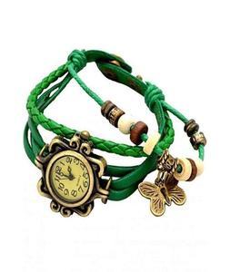 Bracelet Green Leather Strap Watch For Women